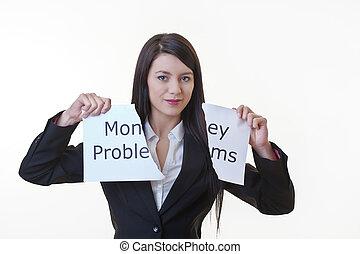 golpe, el, dinero, problema