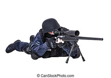 golpe, franco-atirador, oficial, rifle