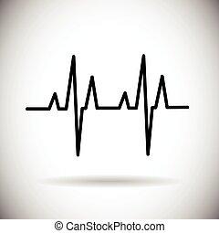 golpe, medicina de corazón, pulso, icono