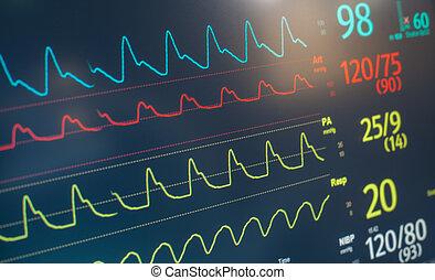 golpe, monitor tasa corazón
