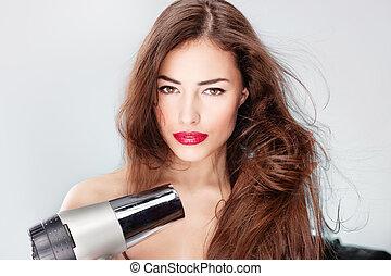 golpe, mujer, pelo largo, secador, tenencia