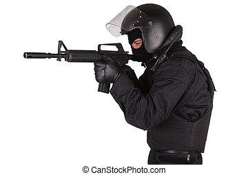 golpe, oficial, em, uniforme preto