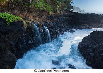 golpe, rocas,  Kauai, ondas, baño, reinas