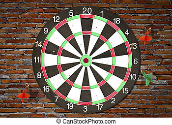 golpe, target), parede, dartboard, (darts, tijolo
