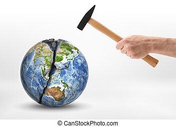 golpea, earth., hombre, planeta, mano, martillo