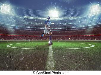 golpea, jugador de la bola, midfield, estadio, futbol