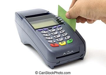 golpeando, tarjeta de crédito, con, pos-terminal