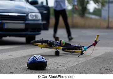 golpear, coche, poco, conductor, biker