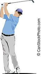 golpear, golfista, pelota, hierro, club.