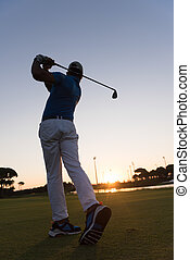 golpear, golfista, tiro, largo