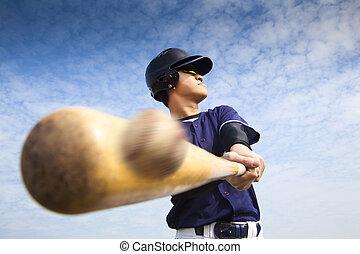 golpear, jugador, beisball