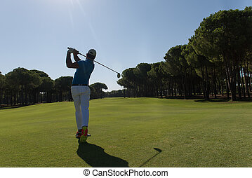 golpear, jugador, golf, tiro