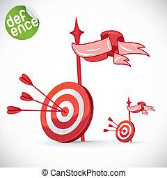 golpear, ojo, directamente, flecha, toros