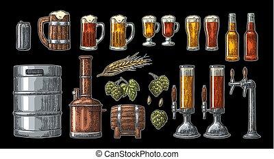 golpecito, factory., cerveza, cervecería, conjunto, tanques...
