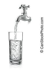 golpecito, y, agua
