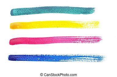 golpes, arco íris, diferente, escova, cobrança