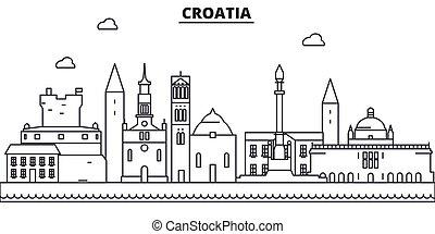 golpes, cityscape, vistas, paisaje, vector, señales, illustration., famoso, diseño, wtih, línea, arquitectura, contorno, ciudad, lineal, editable, croacia, icons.
