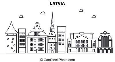 golpes, cityscape, vistas, paisaje, vector, señales, letonia, illustration., famoso, diseño, wtih, línea, arquitectura, contorno, ciudad, lineal, editable, icons.