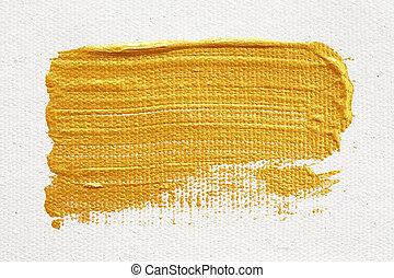 golpes, de, ouro, pintura acrílica, isolado, branco, fundo