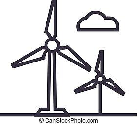 golpes, editable, ilustración, señal, vector, viento, icono, turbina, línea, plano de fondo