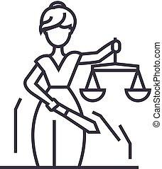 golpes, editable, sinal, ilustração, justiça, vetorial, estátua, ícone, linha, fundo