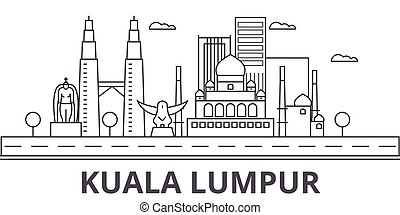 golpes, vistas, diseño, lumpur, kuala, cityscape, vector, ...