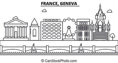 golpes, vistas, ginebra, diseño, francia, cityscape, paisaje, vector, contorno, ciudad, lineal, editable, icons., señales, línea, arquitectura, illustration., famoso, wtih
