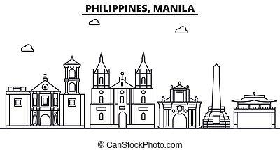 golpes, vistas, manila, diseño, cityscape, paisaje, vector, contorno, ciudad, lineal, editable, icons., filipinas, señales, línea, arquitectura, illustration., famoso, wtih