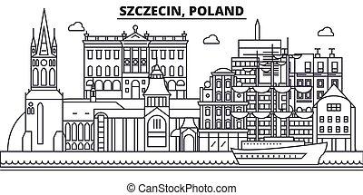 golpes, vistas, szczecin, diseño, cityscape, paisaje, vector, contorno, ciudad, lineal, editable, icons., señales, polonia, línea, arquitectura, illustration., famoso, wtih