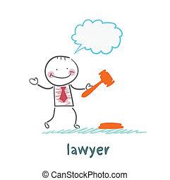 golpeteo, martillo, piensa, abogado