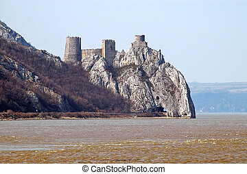 Golubac fortress in Serbia above the Danube river