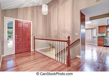 golv, enkel, staircase., löv, väg, inträde