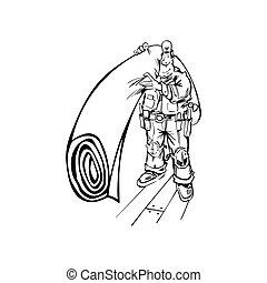 golv, illustration, hand-drawn, vektor, man, matta
