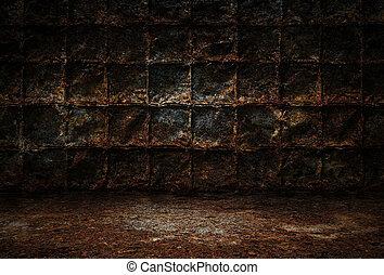 golv, rum, metall, mörk, grunge, väggar, rostig, bakgrund, ...