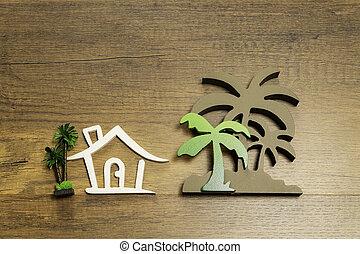 golv, trähus, träd, underteckna, palm