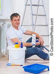 golv, youg, redskapen, män, se, sittande, målning