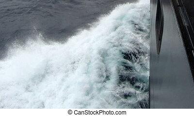 golven, het bespaten, op, de, bovenkant, van, scheeps