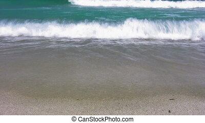golven, op, zandig strand, 6
