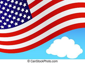 golvend, amerikaanse vlag