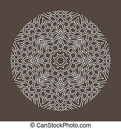 golvend, figuur, pattern., lines., mandala., vector, monochroom, geometrisch, circulaire, uit