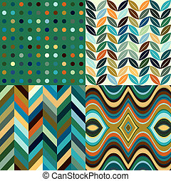 golvend, set, abstract, achtergronden, seamless, vector, retro
