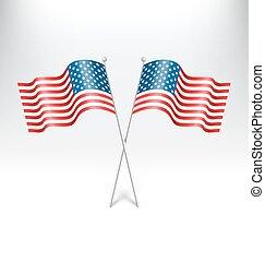 golvend, usa, nationale, vlaggen, op, grayscale
