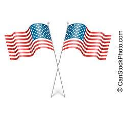 golvend, usa, nationale, vlaggen, vrijstaand, op wit