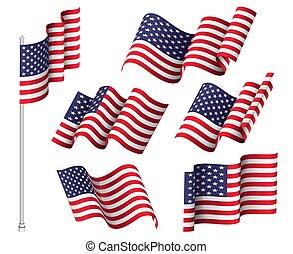 golvend, verenigd, usa, nationale, zes, staten, set, vaderlandslievend, flags., symbool