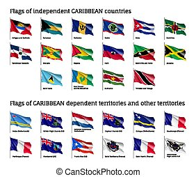 golvend, vlaggen, van, de caraïben, landen