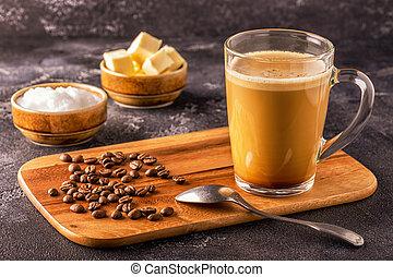golyóálló, mct, egyesült, olaj, szerves, kávécserje, vaj, kókuszdió