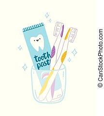 goma de diente, y, cepillos, caricatura, ilustración