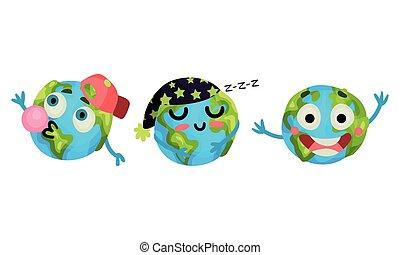 goma, globo, conjunto, vector, esfera, sueño, humanized, mascar