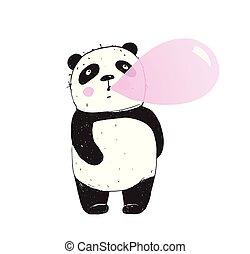 goma, mascar, divertido, burbuja, panda