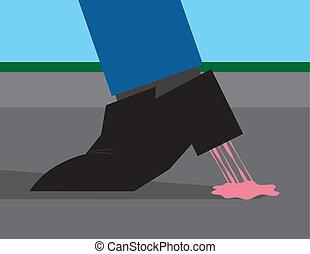 goma, zapato, pegado